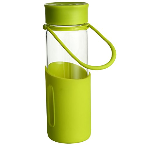 CEDAR HOME Glass Water Bottle with Infuser and Leak Proof Lid BPA Free Wide Mouth Silicone Sleeve 16oz, Green