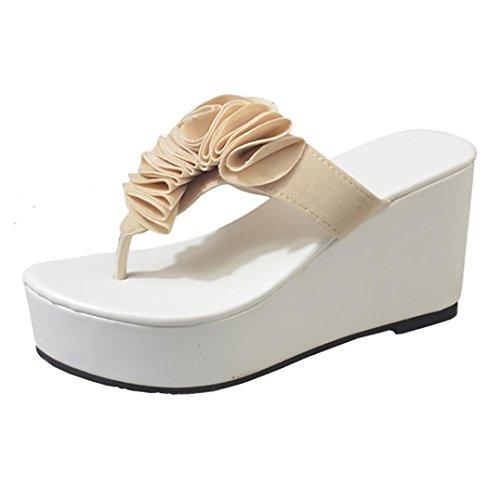 TPulling Sommer Damen﹛Steilhang Pantoffeln﹜Sandalen Ankle Hausschuhe﹛Rutschhemmende Flipflops﹜Hochhackige Wildleder Outdoor Party Lässige Schuhe Hausschuhe Beige