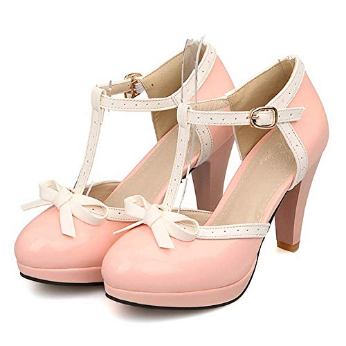 Lucksender Fashion T Strap Bows Womens Platform High Heel Pumps Shoes 9.5B(M) US Pink (Sexy Pink Lace Stiletto Heel)