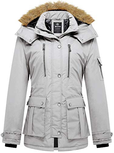 Wantdo Womens Parka Hooded Warm Jacket Winter Coat with Removable Hood Grey Small