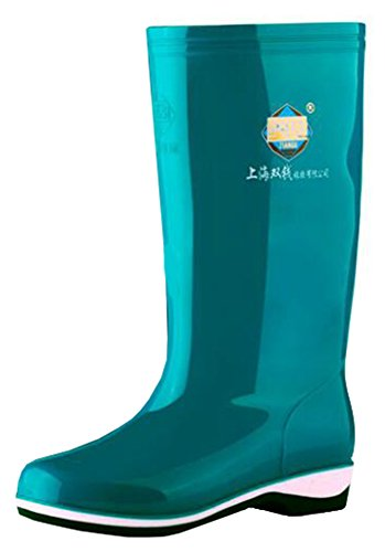 Idifu Dames Antislip Ronde Neus Waterdichte Lange Regenlaarzen Lange Laarzen Met Hakken Blauw