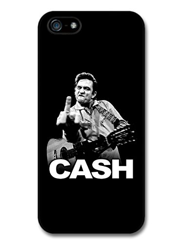 Johnny Cash Black and White Portrait with Finger coque pour iPhone 5 5S