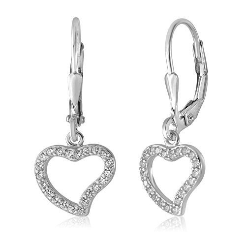 UNICORNJ Children's Tweens Sterling Silver 925 Cubic Zirconia Open Heart Outline Dangle Leverback Earrings Italy