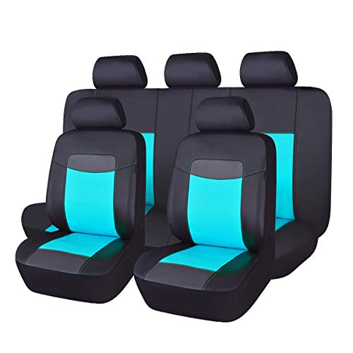 - Flying Banner 11 PCS Full Set Universal Car Seat Covers Water Blue Color Faux Leather Polyester Sponge Cushioned Waterproof fit Car Truck Van SUV