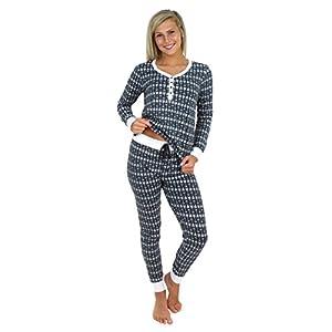 Sleepyheads Women's Sleepwear Knit Long Sleeve Henley and Pant Pajamas PJ Set