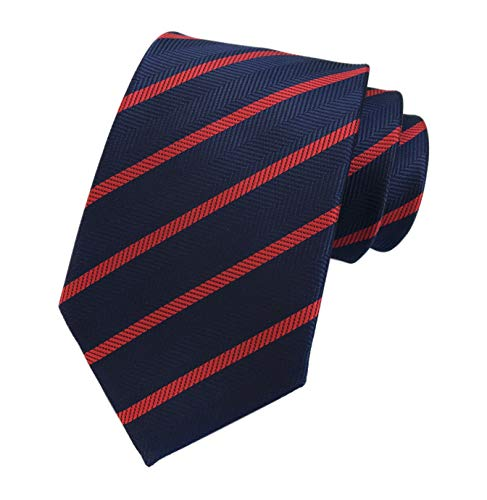 Men's Navy Blue Red Jacquard Woven Bar Silk Ties Evening Married Soft Neckties Blue Diagonal Stripe Tie