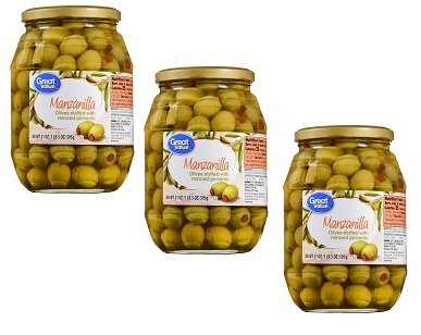 Olives Pimiento Stuffed (Great Value Manzanilla Olives Stuffed with Minced Pimiento, 21 oz, Pack of 3)