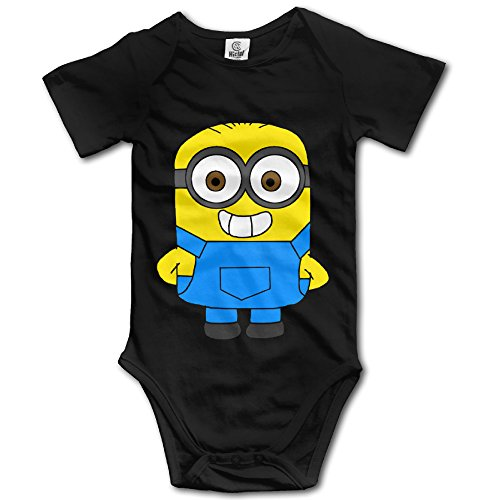 Minions Outfit For Baby (AALEXXJI1 Baby's Cute Minion Hanging Bodysuit Romper Playsuit Outfits Clothes Climbing Clothes Short Sleeve Black)