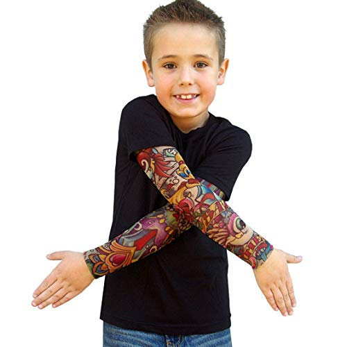 bbc60ef85 Wild Rose 720 Big Boys' Tattoo Shirt Cotton Tee with Mesh Sleeves, Black (