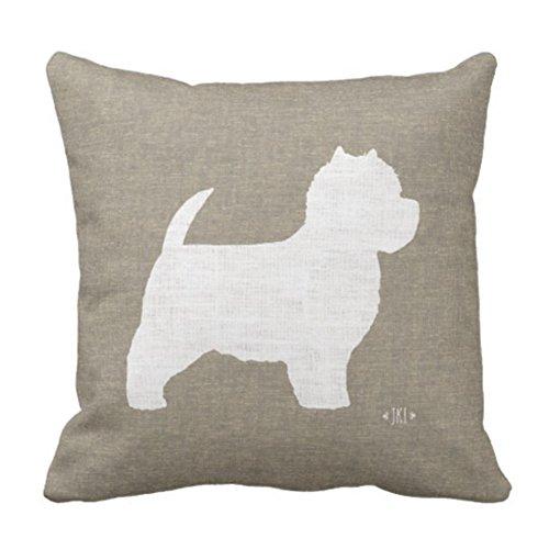 Kidmekflfr Throw Pillow Cover West Highland White Terrier Westie Silhouette Decorative Pillow Case Animal Home Decor Square 18 x 18 Inch Cushion Pillowcase