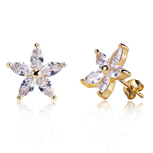 (Lucky Star Daisy Flower White Crystal Stud Earring Crystal Sterling Siver Plated with Gold Journey Jewelry Eternity for Men Women Unisex Couples)