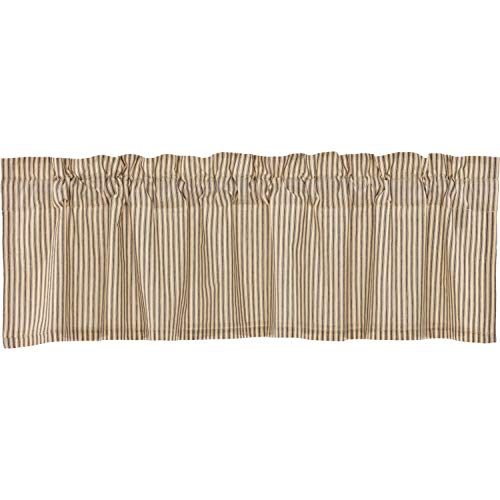 VHC Brands Farmhouse Kitchen Curtains Sawyer Mill Ticking Rod Pocket Cotton Hanging Loops Striped 16x60 Valance Charcoal Dark Creme ()
