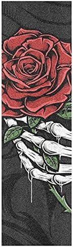 Halloween Skull Hand Rose Skateboard Grip Tape 33x9 Inches 1 Sheet Day of The Dead Mexican Bubble Free Waterpr