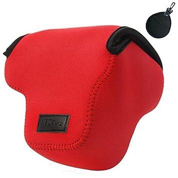 First2savvv QSL-RX10B-08UV Funda Cámara Reflex Neopreno Protectora para Sony Cyber SHOT DSC HX400V HX400 rojo + bolsa de lentes uv