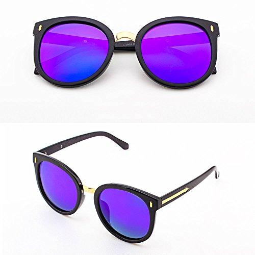 4cm LCCSunglasses Color Frame Redonda Piece 9 de Sunglasses Cara Powder 14 14 Rojo Powder con Sol Retro diseño Black Purple Resina polarizadas Gafas Frame Hvxwq6xd