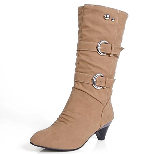Coolcept Women Casual Mid Heel Slouch Boots Pull On Belt Yellow