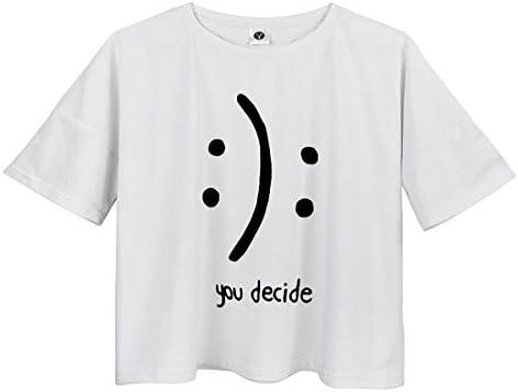 93f37bd0cfa YITAN Women s Fashion Funny Tees Graphic Loose T shirt Cute Relaxed Split  Crop Top