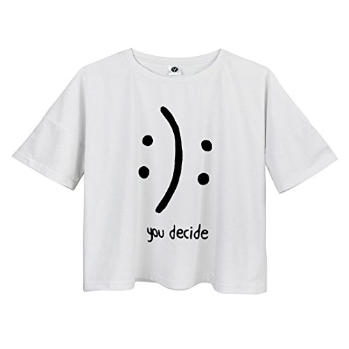 Yitan Womens Fashion Funny Tees Graphic Loose T Shirt Cute Relaxed Split Crop Top White Small