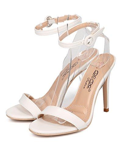 Alrisco Women Ankle Strap Stiletto Sandal - Minimalist Stiletto Heel - Lucite Open Toe Sandal - HB20 by DbDk Collection White Leatherette SWJi71CX6