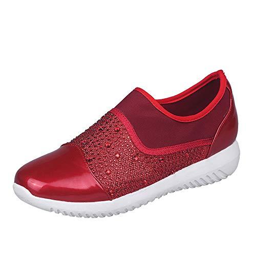 Basses Respirant Plat Ningsanjin Casual Chaussures Marcher De Mode Sport Rouge Femmes Femme À Fond chaussures Baskets Running Respirantes qUMVzSpG