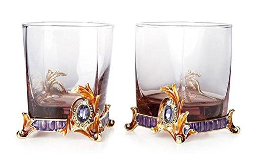 RORO Wedding Gift Scotch Whiskey Rocks Glasses, Enameled Bohemia Crystal Gold-plated Ornament w/  Swarovski Crystals Jewels DOF, Robbie Rodin Design, SET OF 2 - (9.5 oz) by Robbie Rodin Design