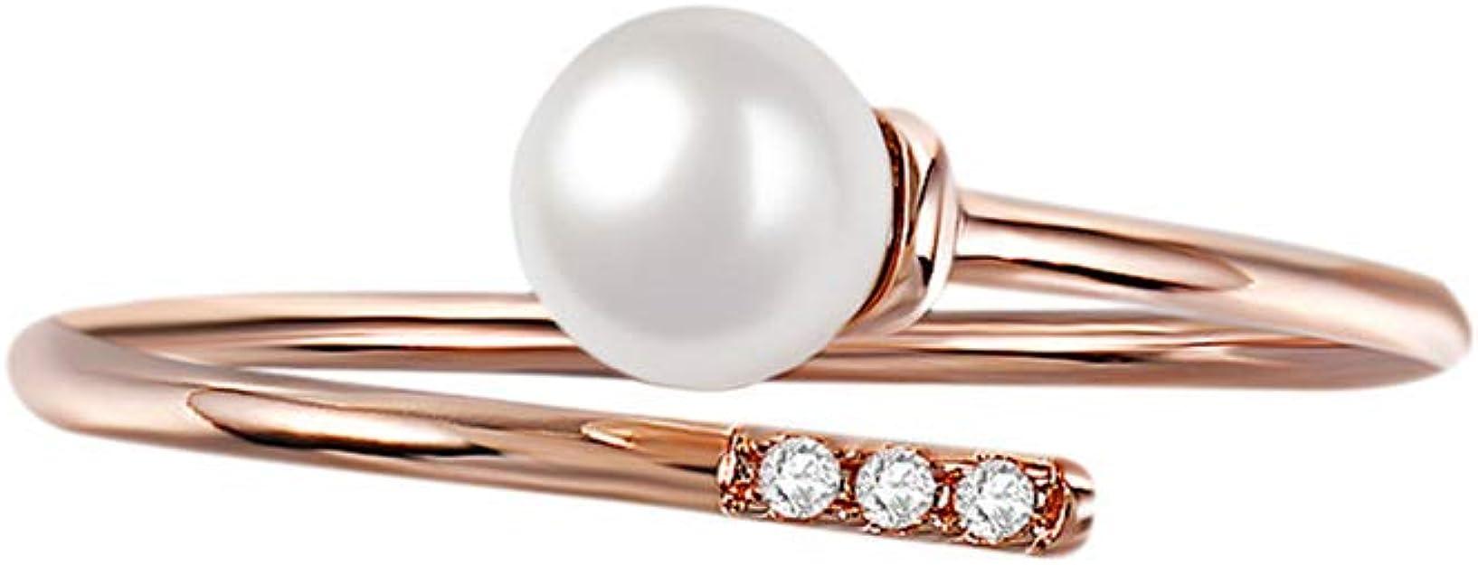 WSTJY - Abalorio para mujer, tamaño ajustable, chapado en oro rosa, perlas blancas de imitación, anillos abiertos con cristal brillante: Amazon.es: Joyería