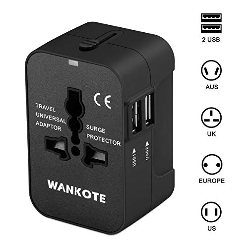 Travel Adapter, WANKOTE Universal Travel Adaptor with Dual USB Charging Ports Worldwide All in One Power Charger AC Power Plug Adapter for USA AUS UK Europe Cell Phone Laptop ()