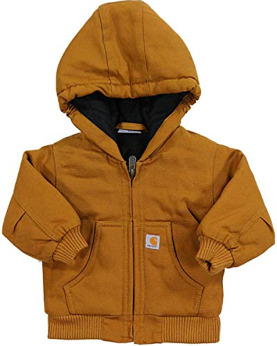 Carhartt Baby Boys' Active Quilted Flannel Lined Jacket, Carhartt Brown, 24 Months