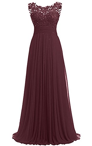(PROMLINK Women's Beaded Chiffon Long Dresses for Gown Wedding Guest Burgundy)
