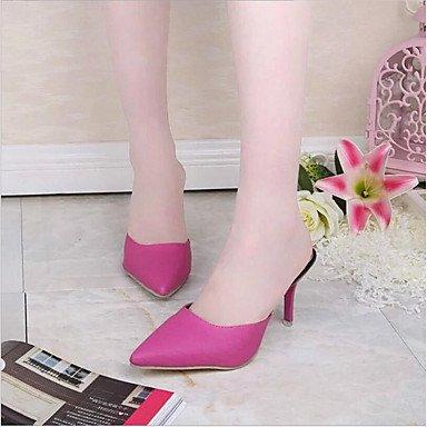LvYuan Mujer-Tacón Stiletto-Confort Zapatos del club-Sandalias-Oficina y Trabajo Vestido Informal-PU-Negro Blanco Rosa Rosada fuchsia