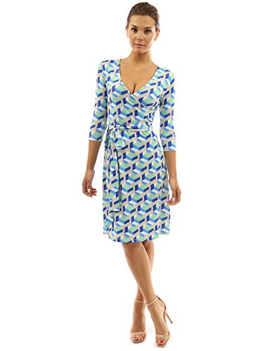 PattyBoutik Women Faux Wrap A Line Dress (Blue and Green Large)