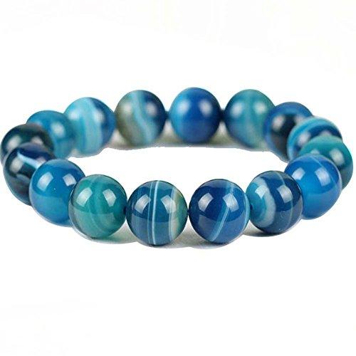 Persian Agate Beads Quartz Bracelet Healing Chakras Persian Agate Bracelet for Coups (8) (Mens Agate)