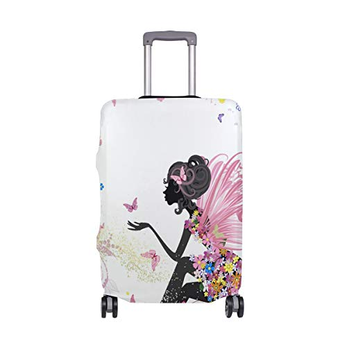 Travel Luggage Cover Pink Butterfly Fairy Flower Dress Suitcase Protector
