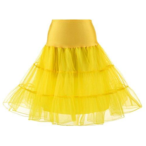 La Petticoat Underskirt Beiqiane Jupe Crinoline Noce Demi Pour 1950 Yellow Genou Vintage Slips Tutu Jupon Femmes ul1TJc3FK