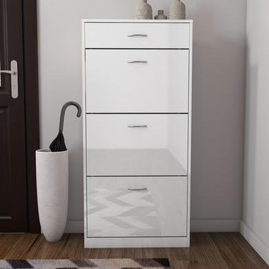 Torino Tall Shoe Cabinet In White High Gloss 4 Drawer  18 Pairs