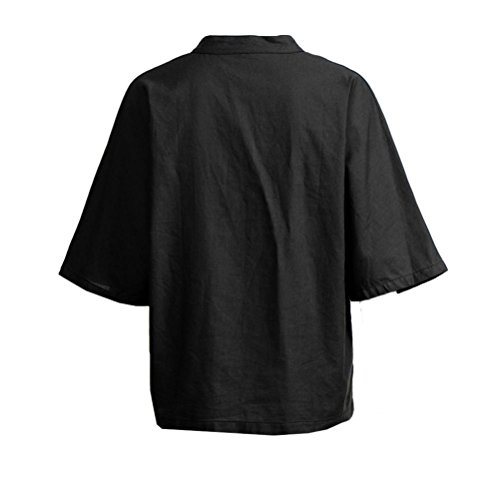 Plein 4 de JIANGfu Chemisier 3 Manches Bouton Longues Noir T Manches Casual Shirt en Tops Chemisier Coton Femmes Chemise Poche T Vrac Femme Shirt vBrvzwqO