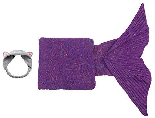 Adult Mermaid Tail Blanket Cat Headband Purple Throw Little Girl Long Extra Size Fishtail Sleeping Bag Soft Warm Snuggie Weighted Receiving Knitted Cover Living Room Car Camp Toy (Blanket-Adult-2)