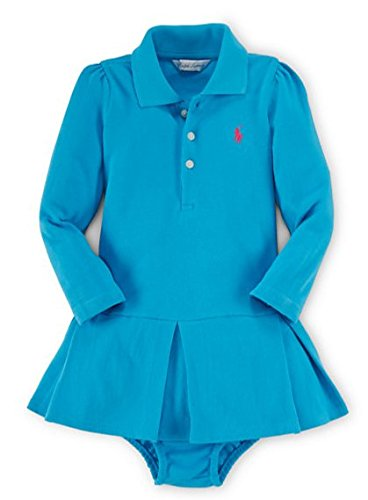- Ralph Lauren Baby Girls' Pleated Polo Dress & Bloomer (6 Months, Turquoise Pendant)