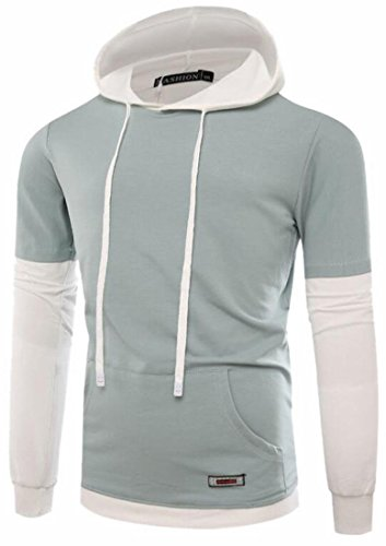today-UK Mens Hip Hop Long Sleeve Hooded Patchwork Sweatshirt Pullover Light Blue