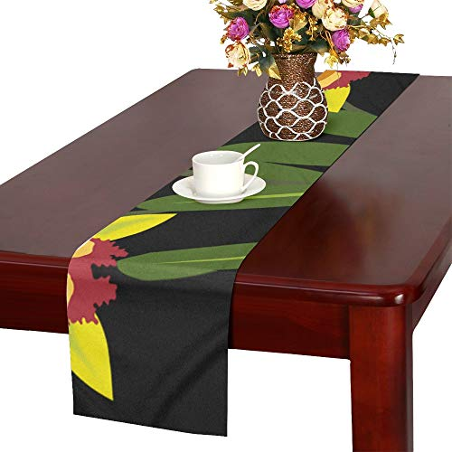 QYUESHANG Clip Art Flor Flora Flower Nature Orchid Orchids Table Runner, Kitchen Dining Table Runner 16 X 72 Inch for Dinner Parties, Events, - Clipart Orchid