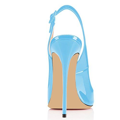 Scarpe Con Caviglia Cinturino Toe Da Peep Sandali Cielo Slingback Donna Tacco Spillo Blu Fibbia A Elashe H7d4xqH