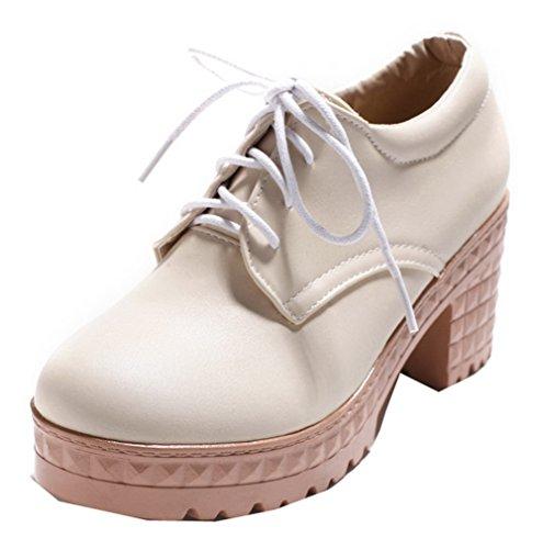 Odomolor Women's Closed-Toe Solid Lace-up Kitten-Heels Court Shoes Beige dKYbUJ