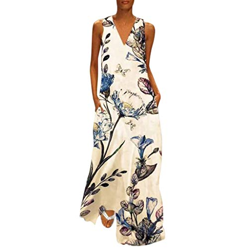 Green Xhilaration - Women's Vintage  Bohemian Floral Sleeveless V-Neck Dress Feather Print Maxi Long Dress