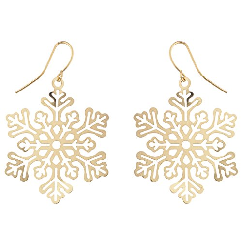 Lux Accessories Christmas Holiday Winter Gold Tone Snowflake Drop Earrings (Snowflake Earrings Winter)