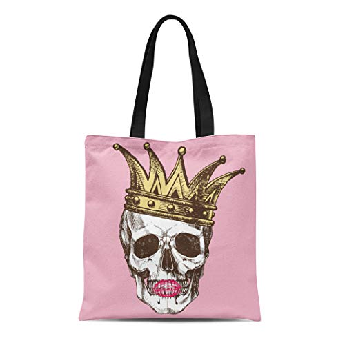 Semtomn Canvas Tote Bag King of Death Portrait Skull Crown and Lipstick Rock Durable Reusable Shopping Shoulder Grocery Bag ()