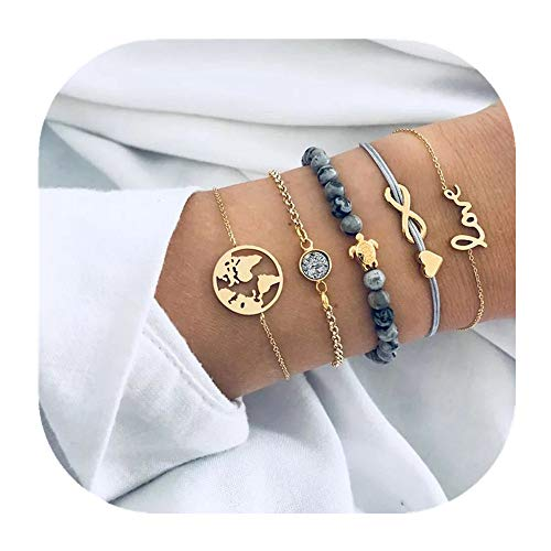 - POYDORA 5 Pcs Layered Beaded Bracelet Set Stackable Wrap Bangle Adjustable Beads Bracelet Natural Stone Link Chain for Women Girls (Blue Set)