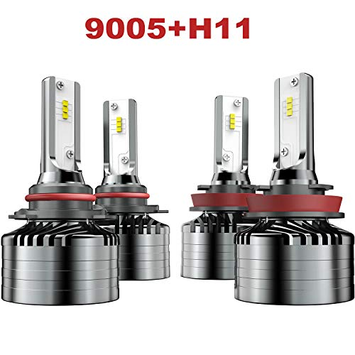 H11 Low Beam 9005 High beam LED Headlight Combo, Marsauto H9 HB3 Head Lamp Package CSP Chips 6000K (4 Pack, 2 Sets)