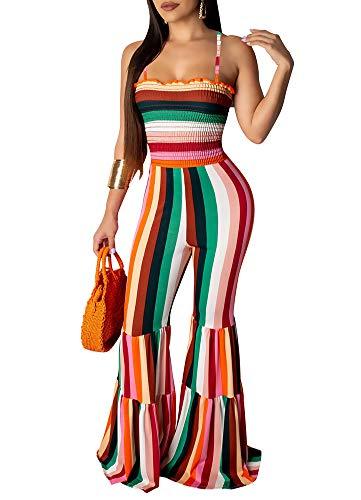 (Ophestin Womens Rainbow Stripe Spaghetti Strap Cami Bell Bottom Bodycon Jumpsuit Orange L)