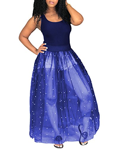 - Womens Sexy Sleeveless See Through Perl Beading Fit and Flare Maxi Long Tank Dress Blue XXL