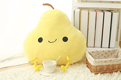 Smiling Emoji Plush Fruit Pillow Pear 3D Mango Peach Orange Pillow Toy Soft Stuffed Toy for Kids, Girl friends, Decorative Sofa Chair Pillow Cushions (Pear) - Pear Chair